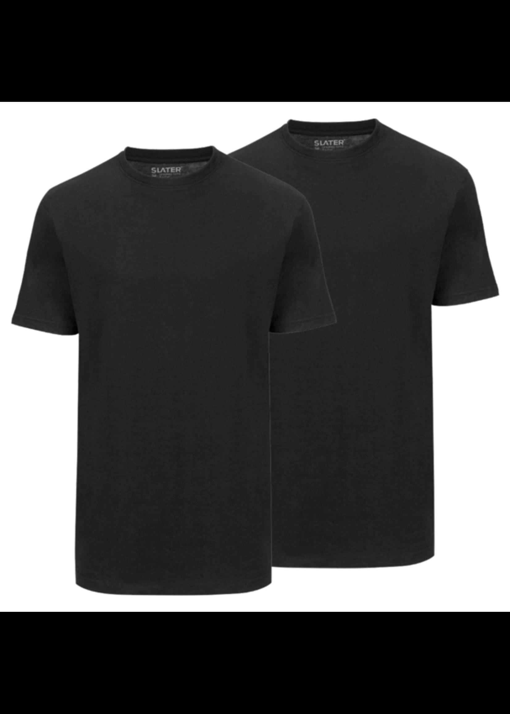 Slater Basic 2-pack ronde hals t-shirt zwart