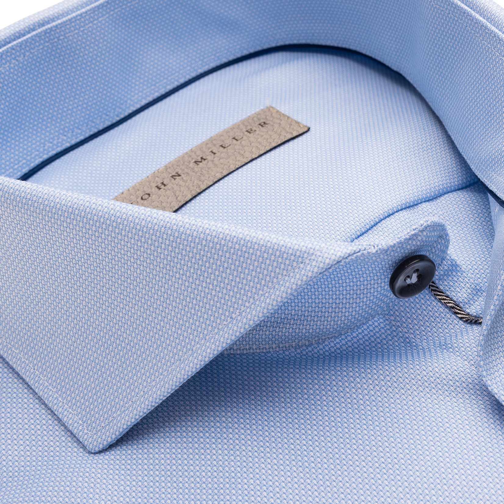 John Miller tailored fit overhemd lichtblauw met cut away boord