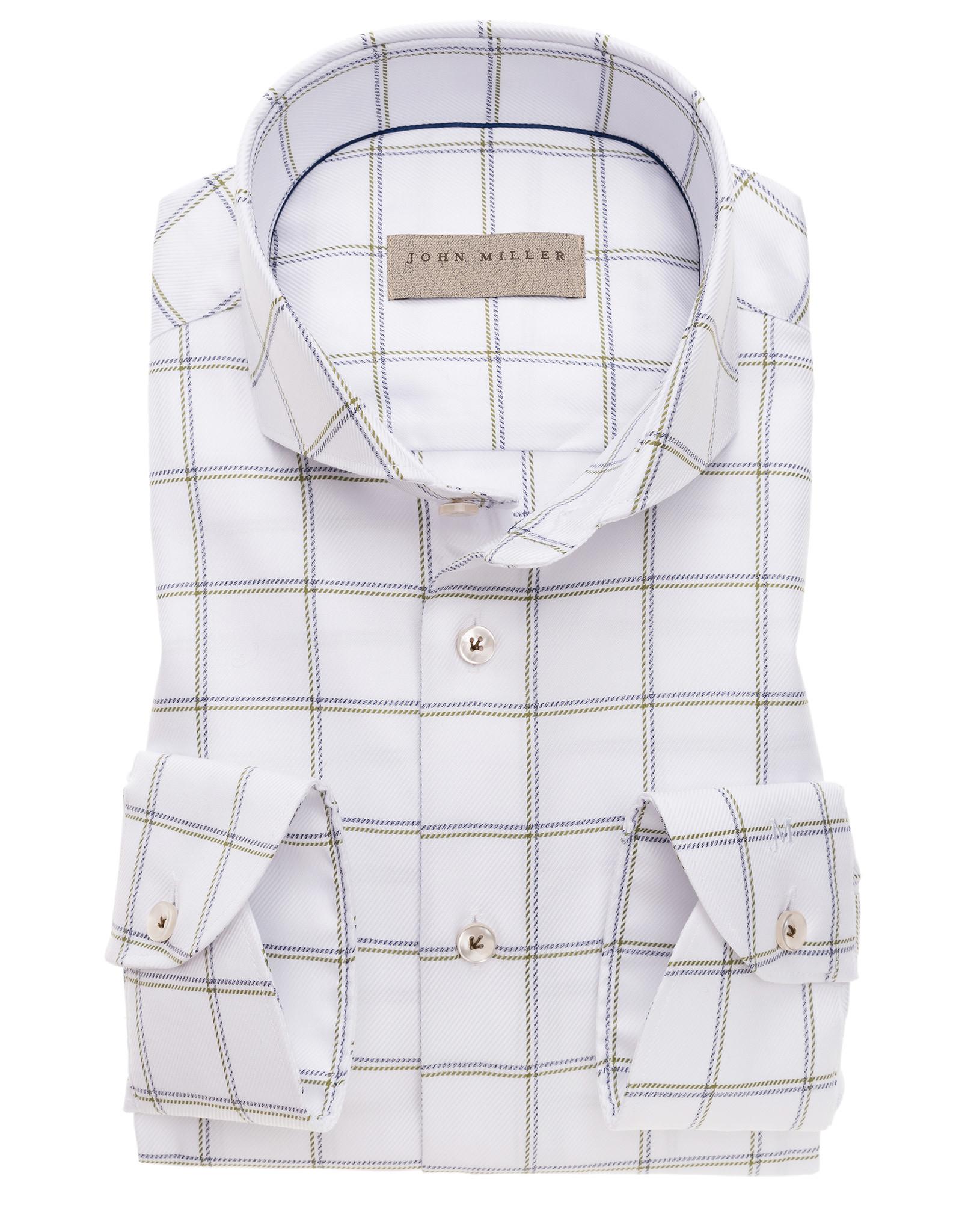John Miller tailored fit shirt wit combi met cut away boord