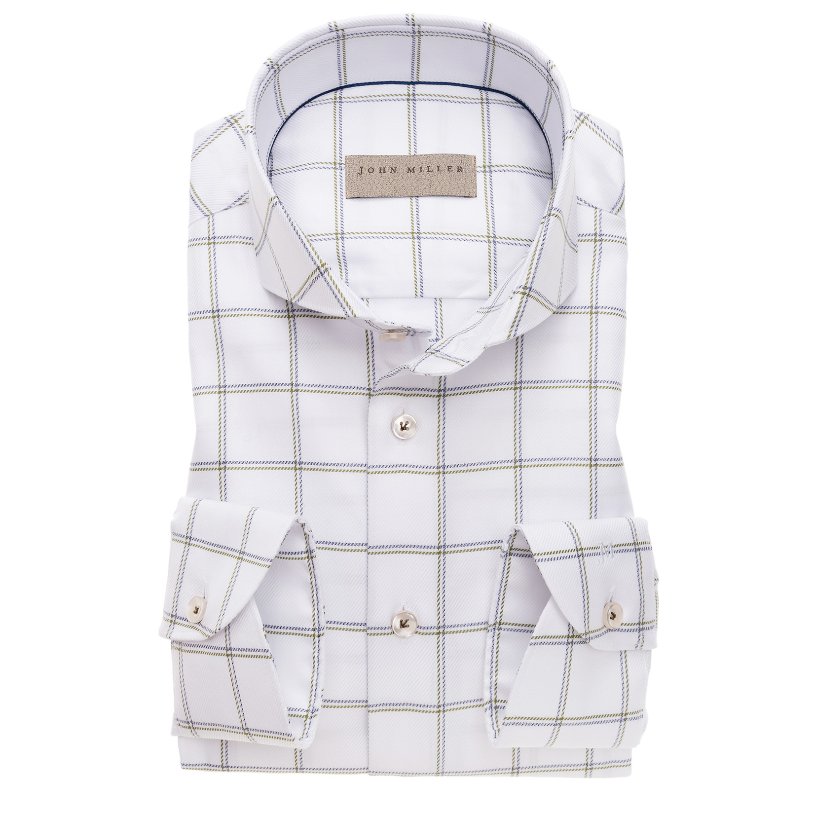 John Miller tailored fit shirt wit combi met cut away boord