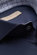 John Miller tailored fit overhemd donkerblauw met cut away boord