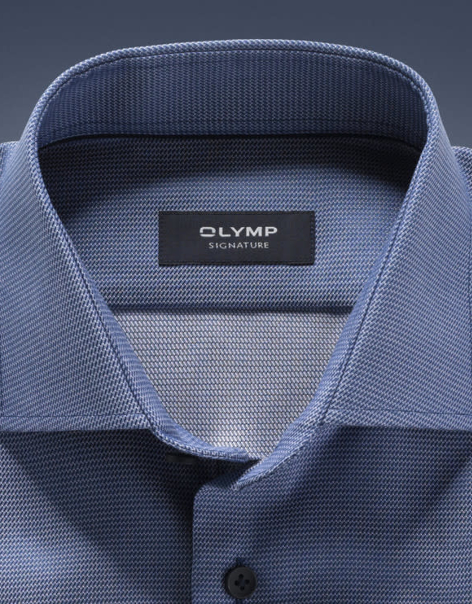 Olymp Signature tailored fit overhemd rookblauw