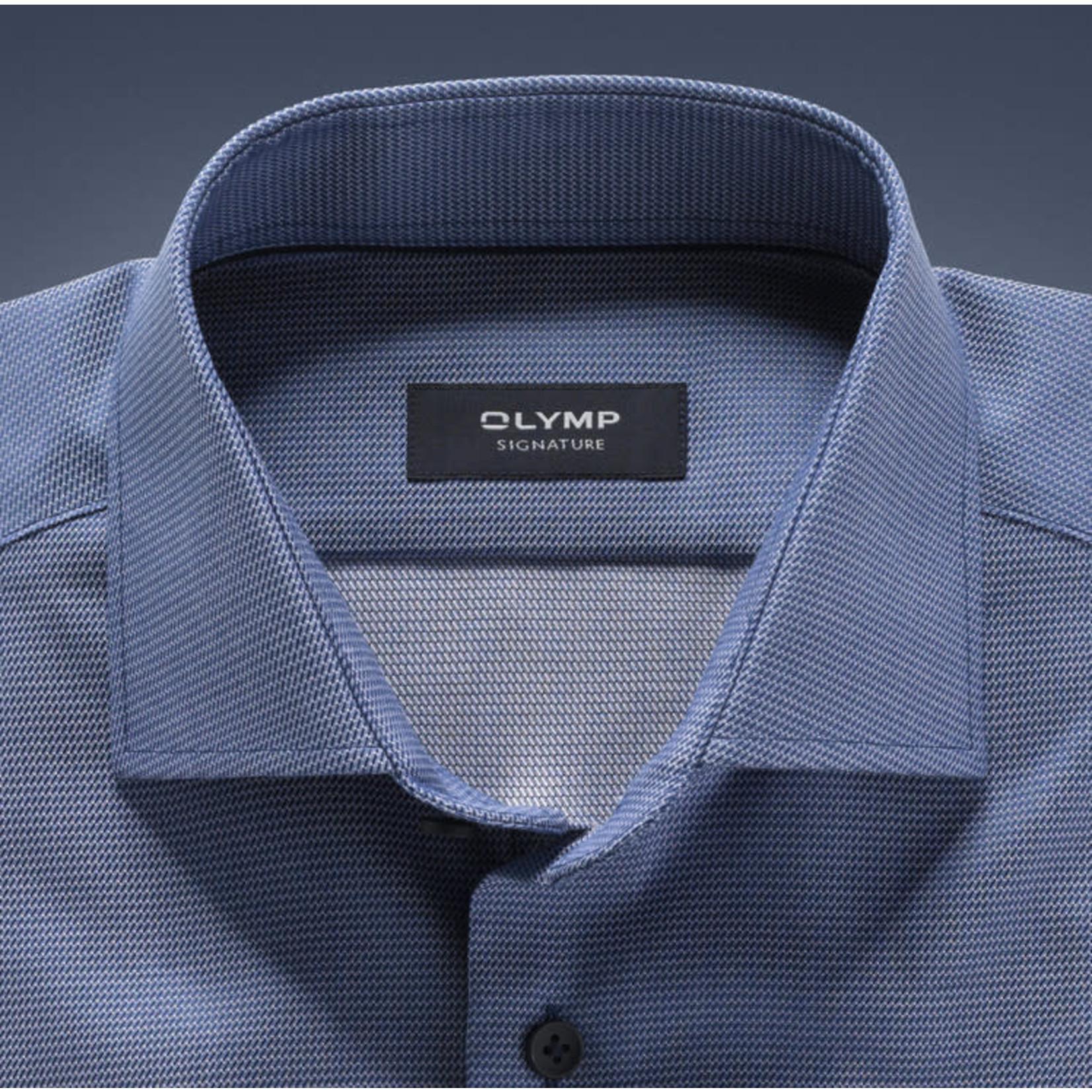 Olymp Signature tailored fit overhemd rookblauw