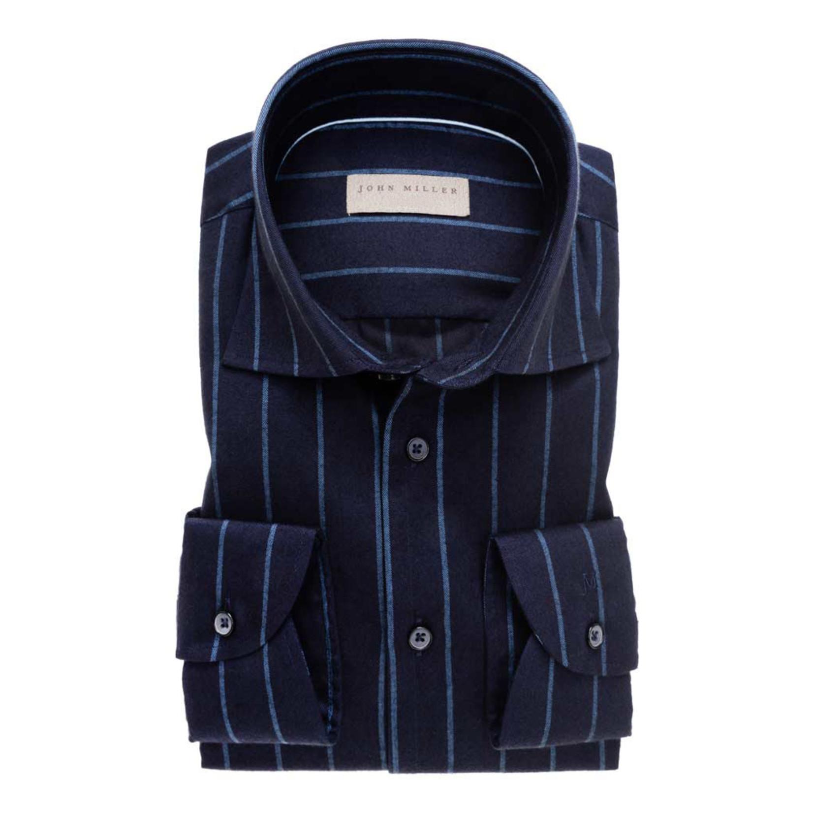 John Miller tailored fit overhemd marine streep met wide spread boord