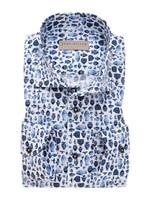 John Miller tailored fit overhemd blauw print
