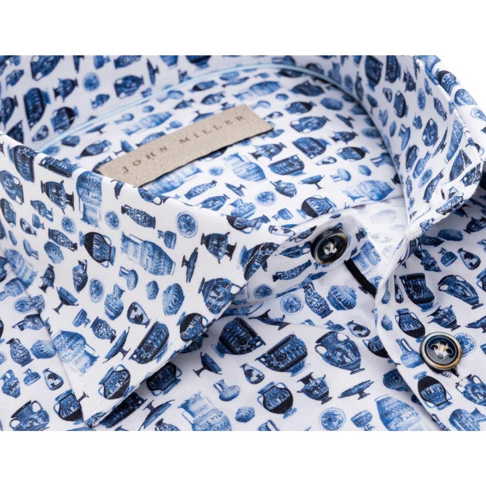 John Miller tailored fit overhemd blauw print met wide spread boord
