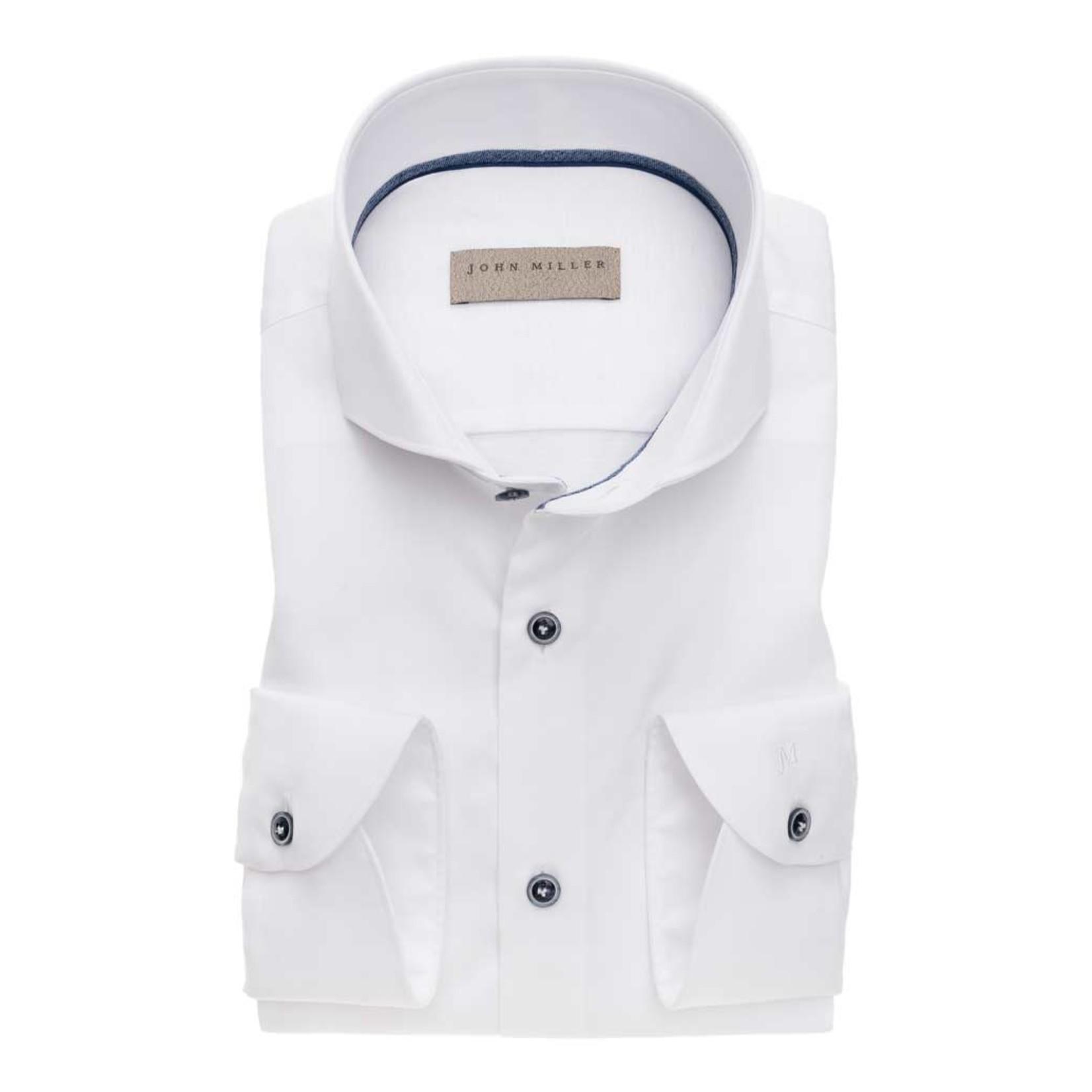John Miller slim fit overhemd wit met cut away boord