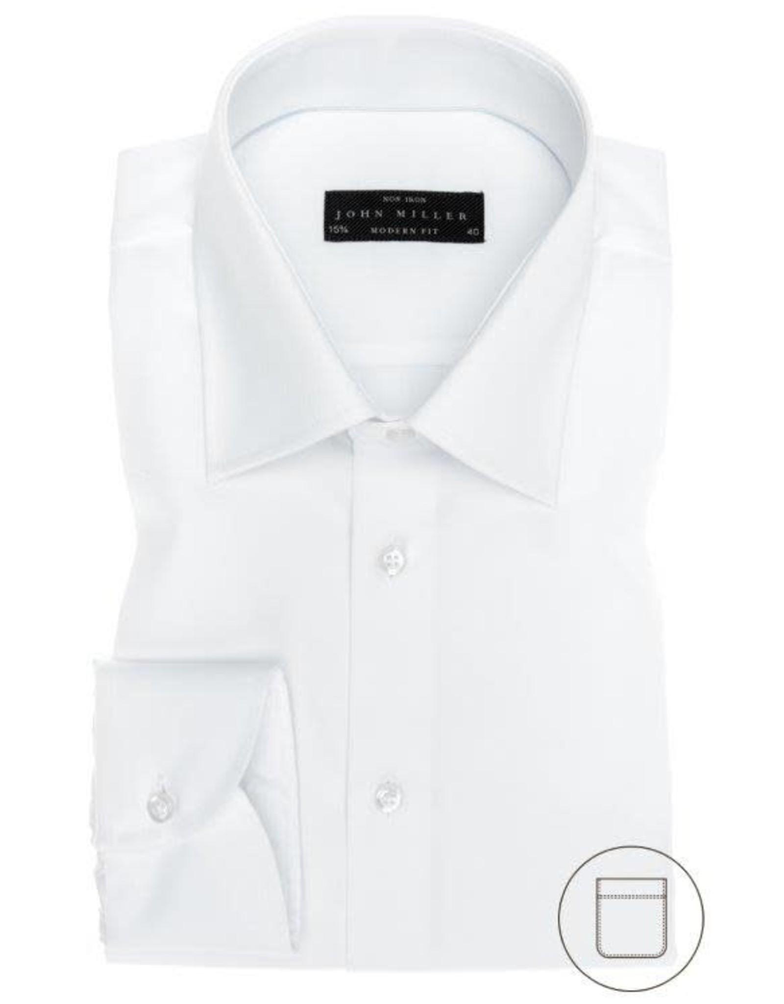 John Miller modern fit overhemd wit met semi spread boord
