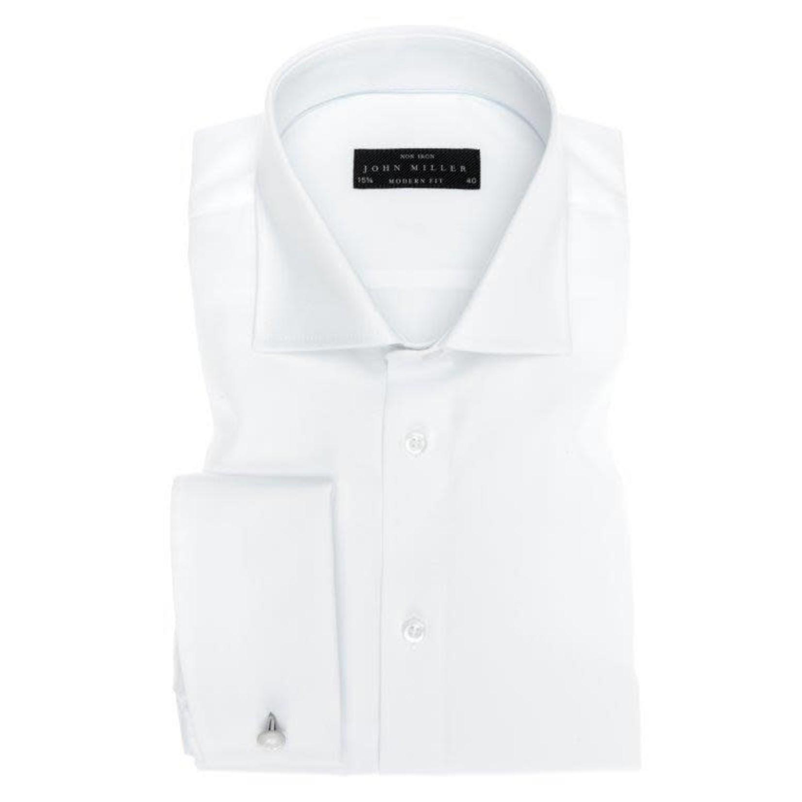 John Miller modern fit overhemd wit met dubbele manchet en wide spread boord.