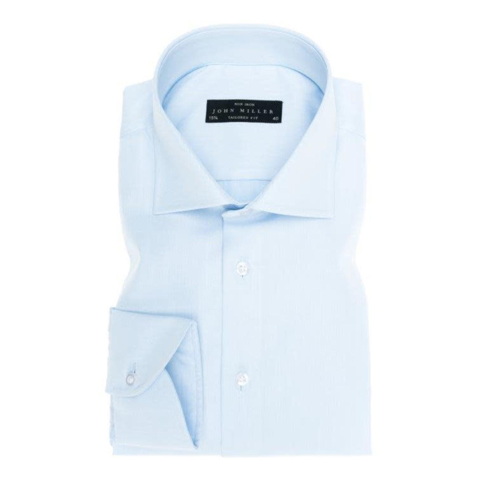 John Miller tailored fit overhemd lichtblauw met wide spread boord