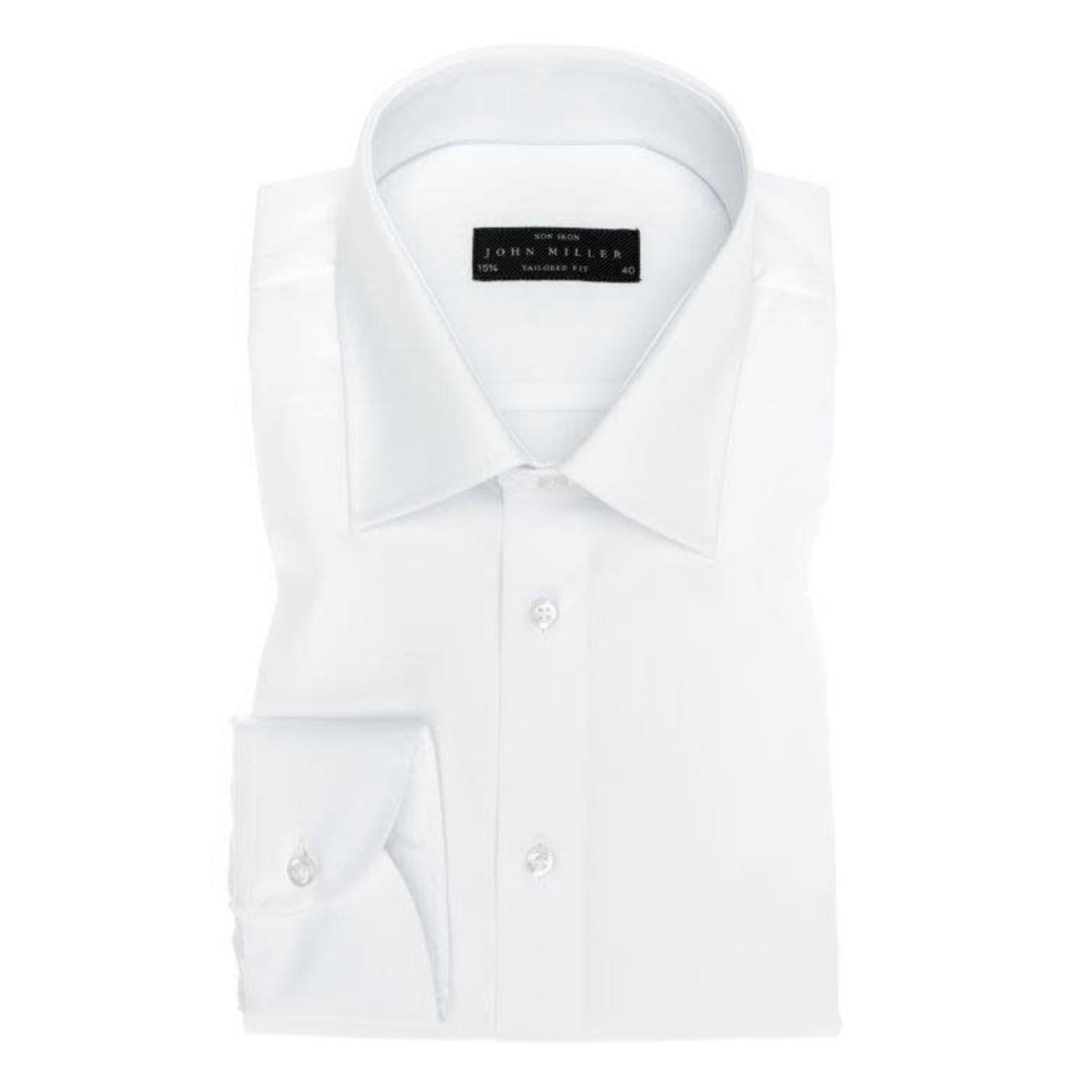 John Miller tailored fit overhemd wit met semi spread boord