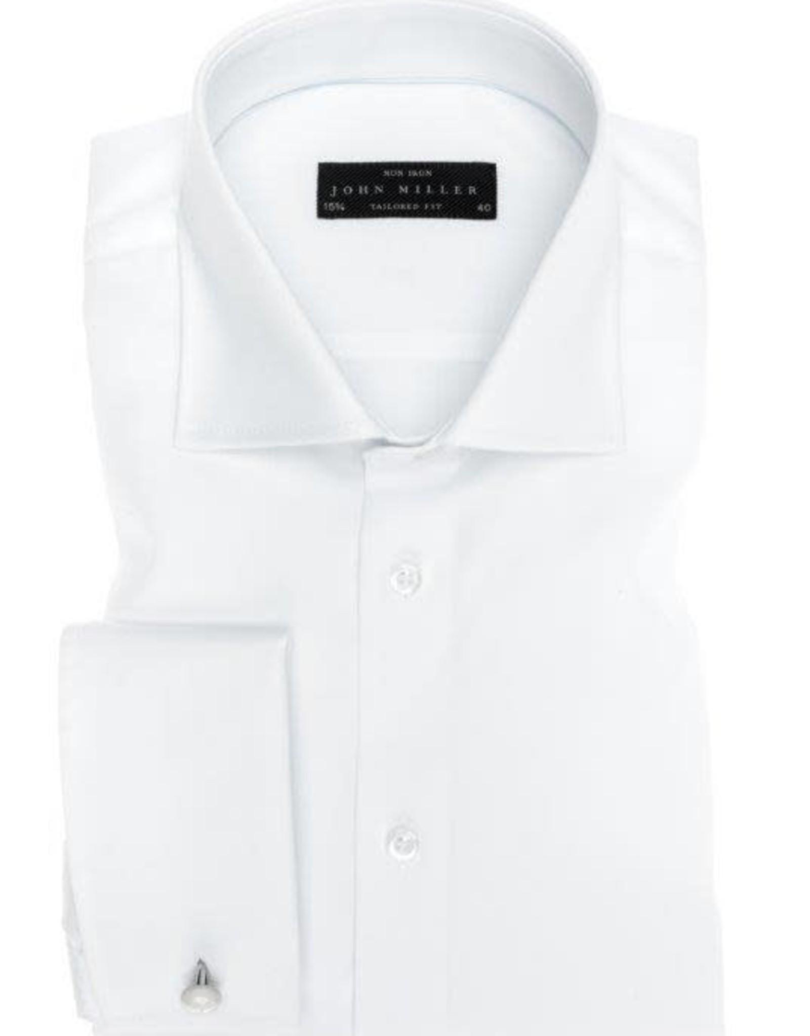 John Miller tailored fit overhemd wit met dubbele manchet en wide spread boord
