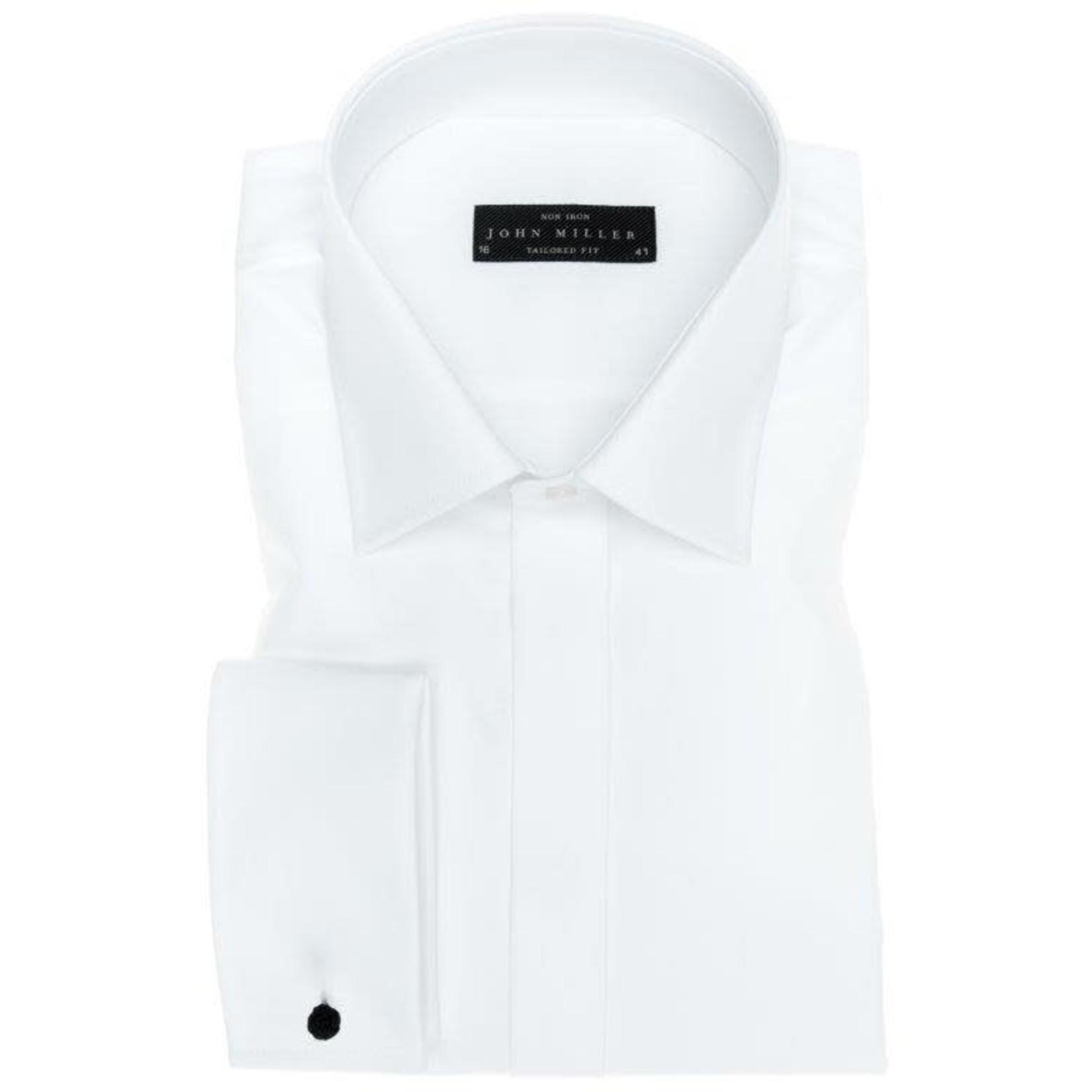 John Miller tailored fit overhemd wit met dubbele manchet en semi spread boord