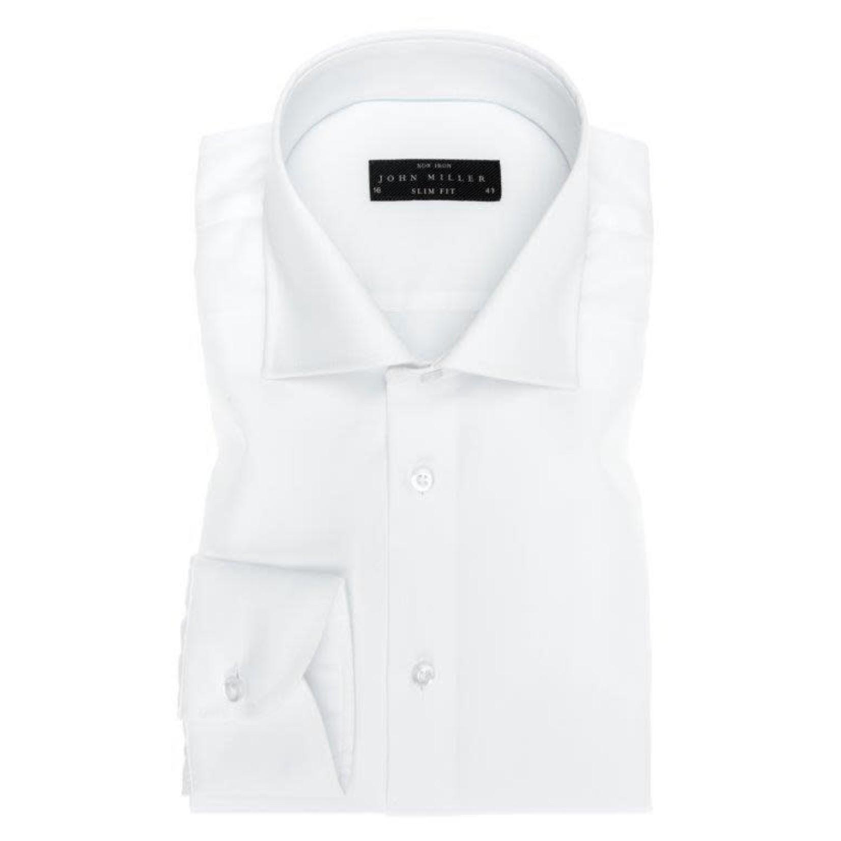 John Miller slim fit overhemd wit met wide spread boord