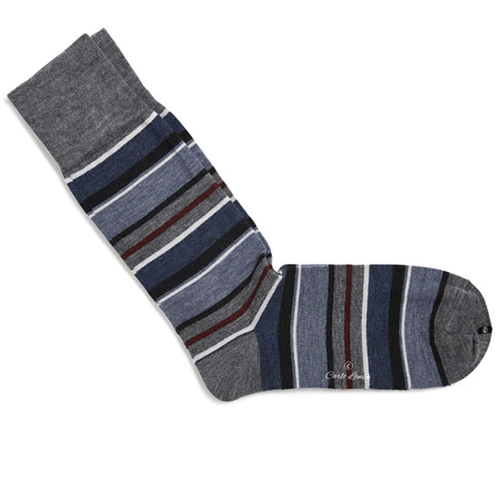 Carlo Lanza korte sokken wol met marine strepen