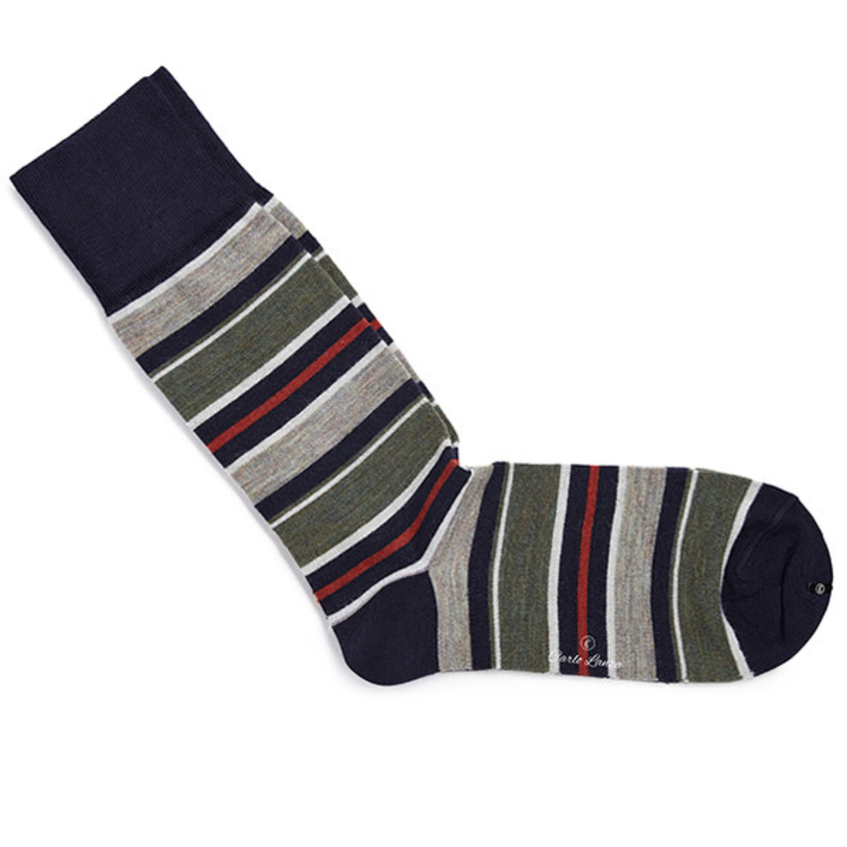 Carlo Lanza korte sokken wol met groene en oranje strepen
