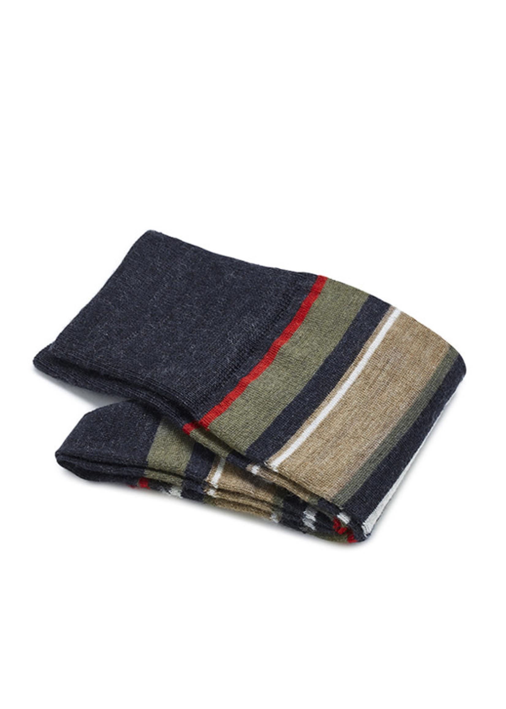 Carlo Lanza korte sokken wol met rode strepen