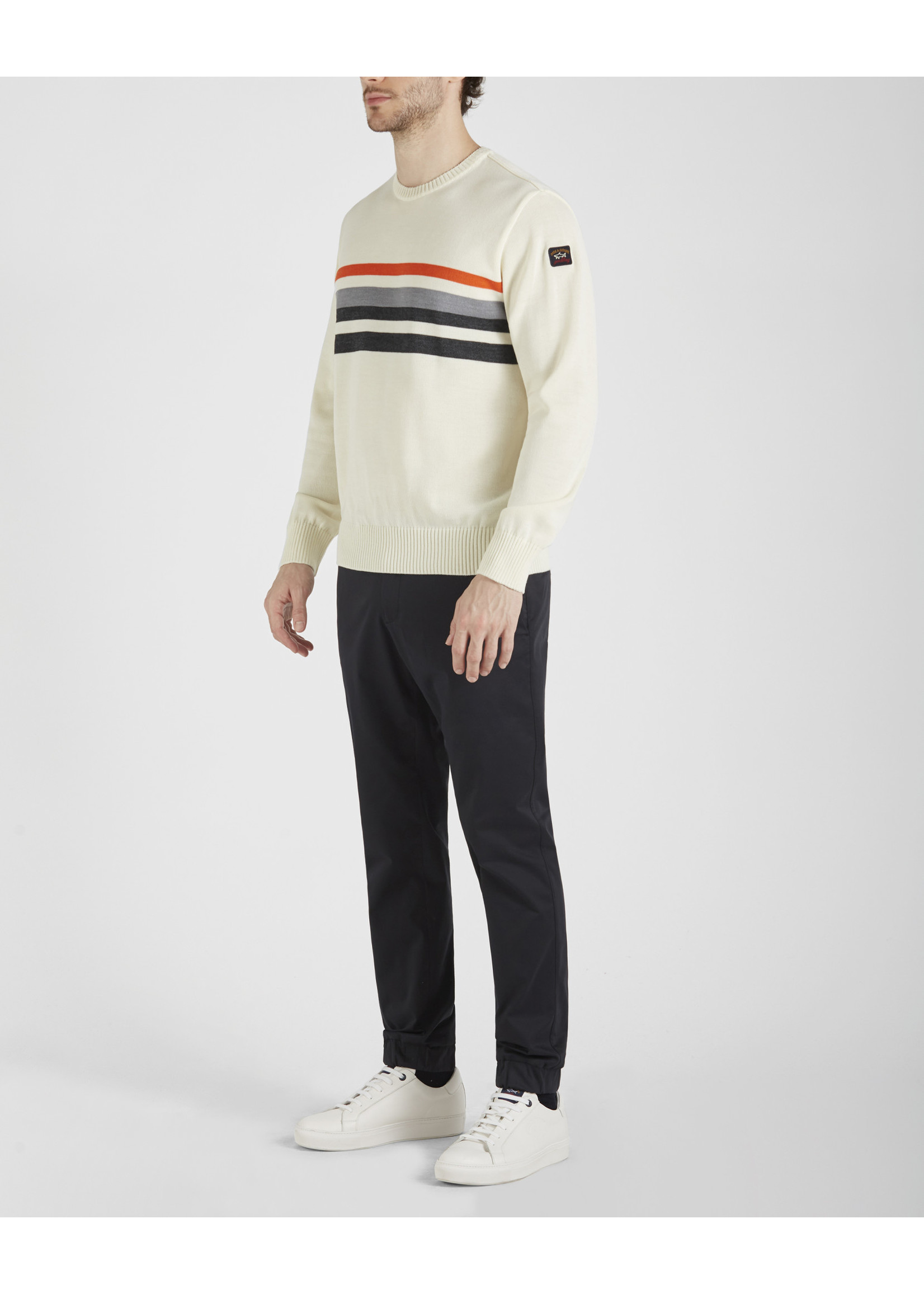 Paul & Shark pullover ecru driekleurige strepen