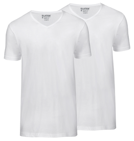 Slater Basic Fit 2-pack v-hals t-shirt wit