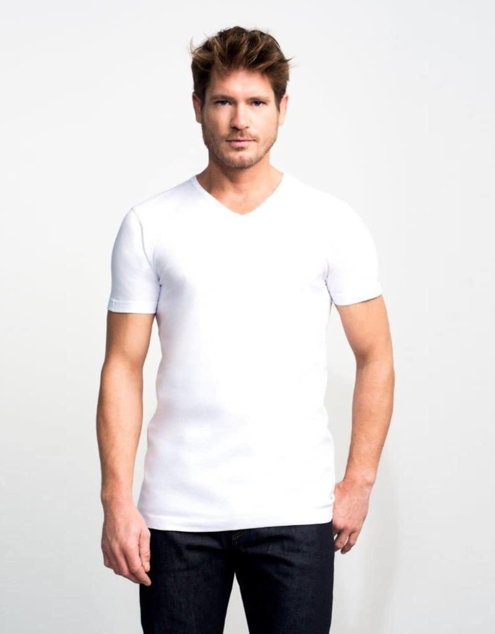 Slater Basic Fit v-hals t-shirt wit