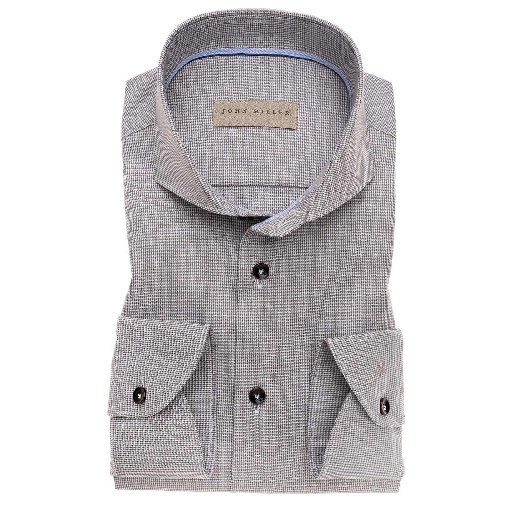 John Miller tailored fit overhemd grijs met cut away boord