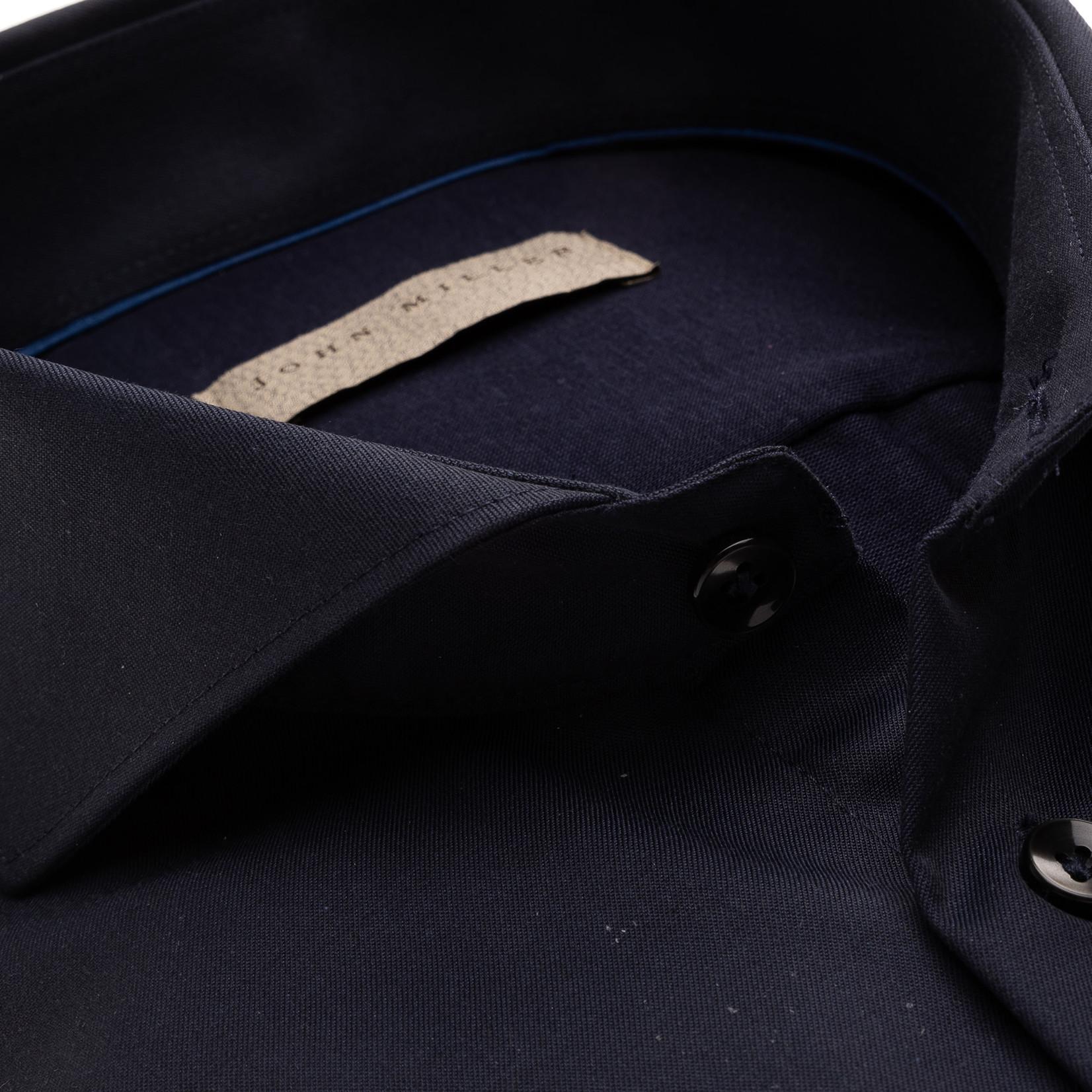 John Miller slim fit overhemd marine met jersey achterkant