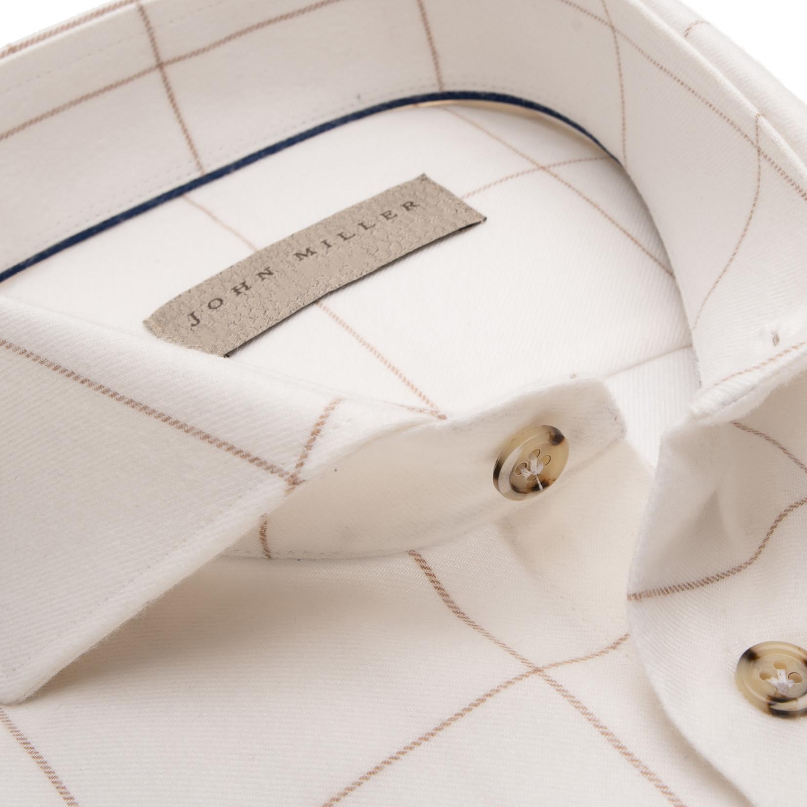 John Miller tailored fit overhemd ecru ruit
