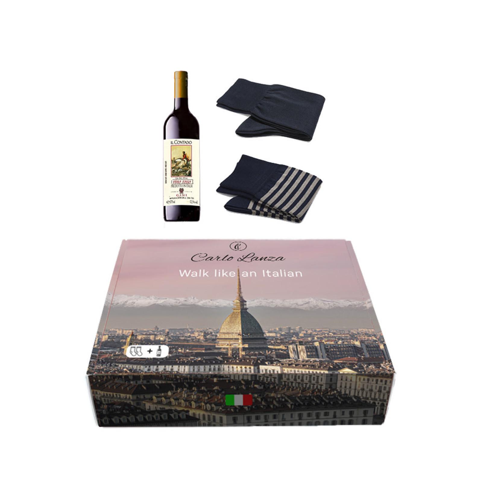 Carlo Lanza cadeaupakket sokken en rode wijn