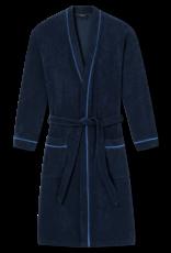 Schiesser badjas marine met blauwe bies
