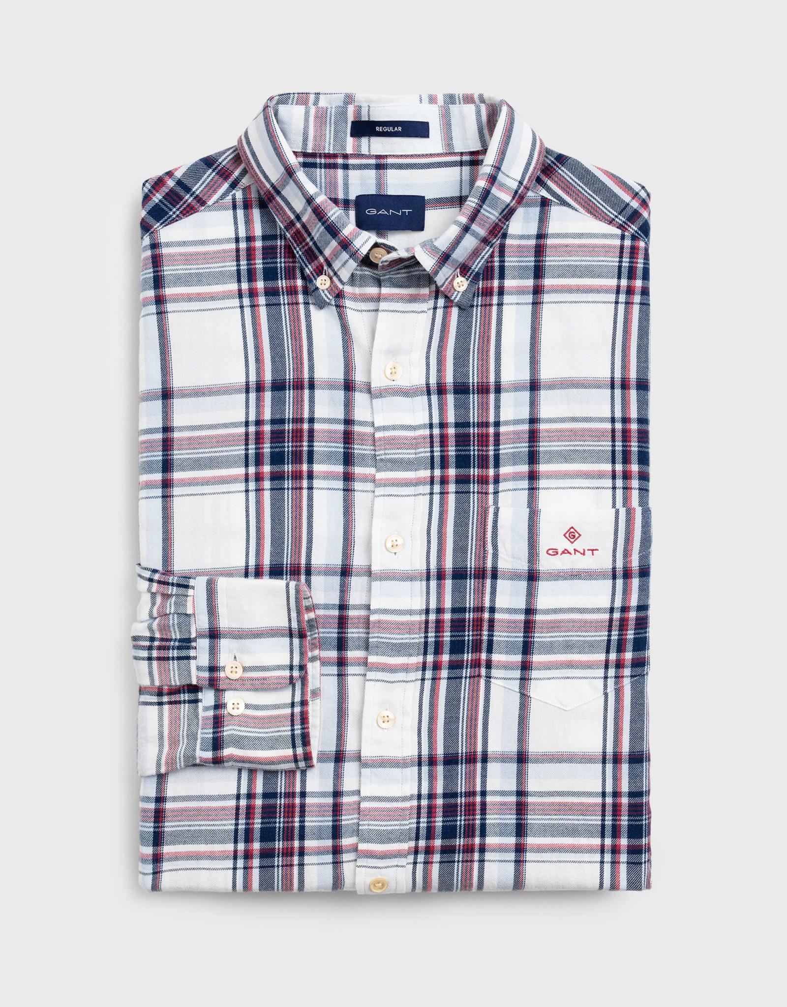 GANT overhemd ecru  met rode en blauwe ruit