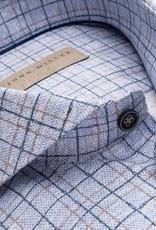 John Miller tailored fit overhemd blauwe ruit met cut away boord