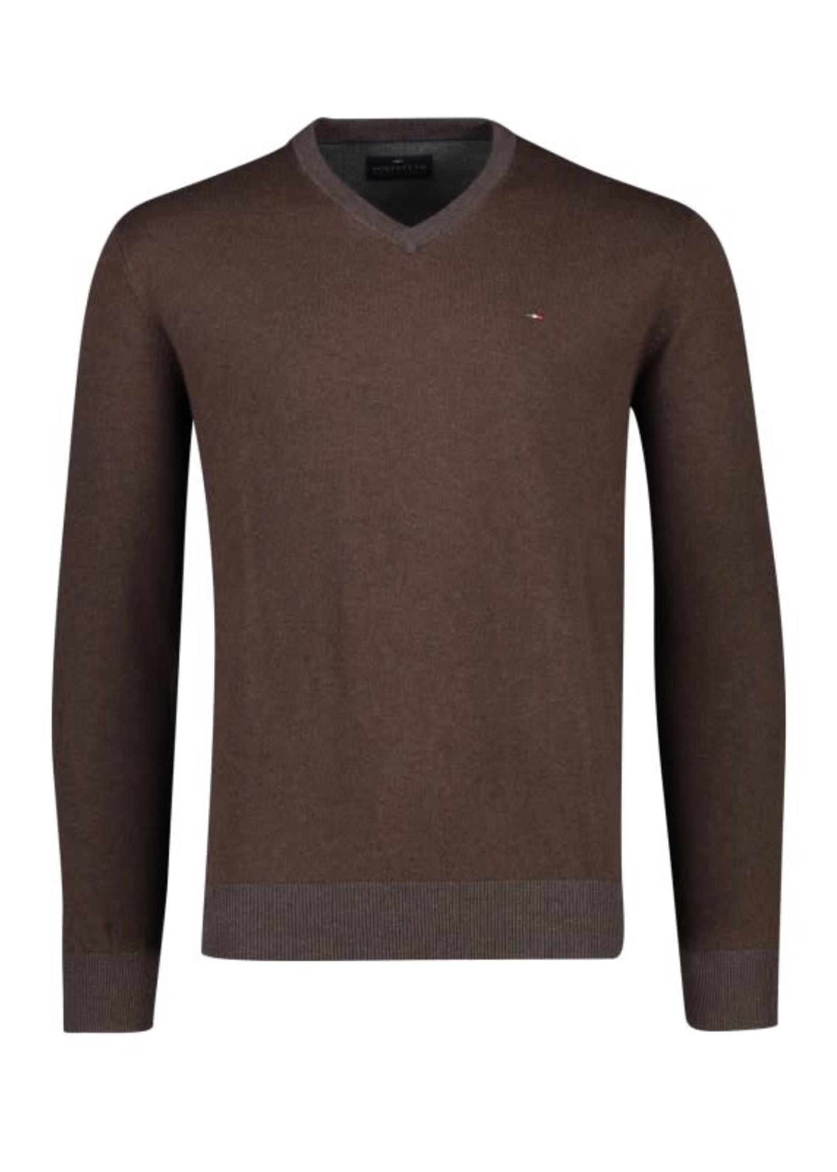 Portofino pullover katoen v-hals bruin
