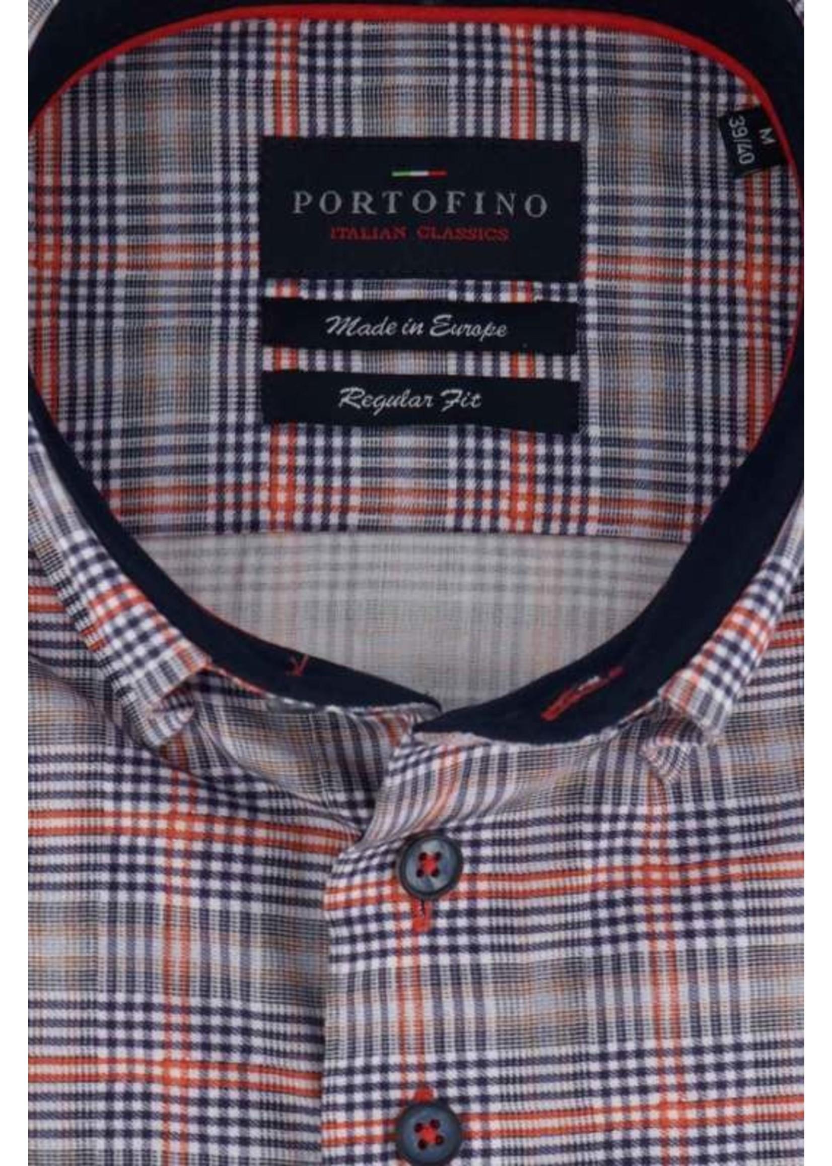 Portofino overhemd oranje grijze ruit