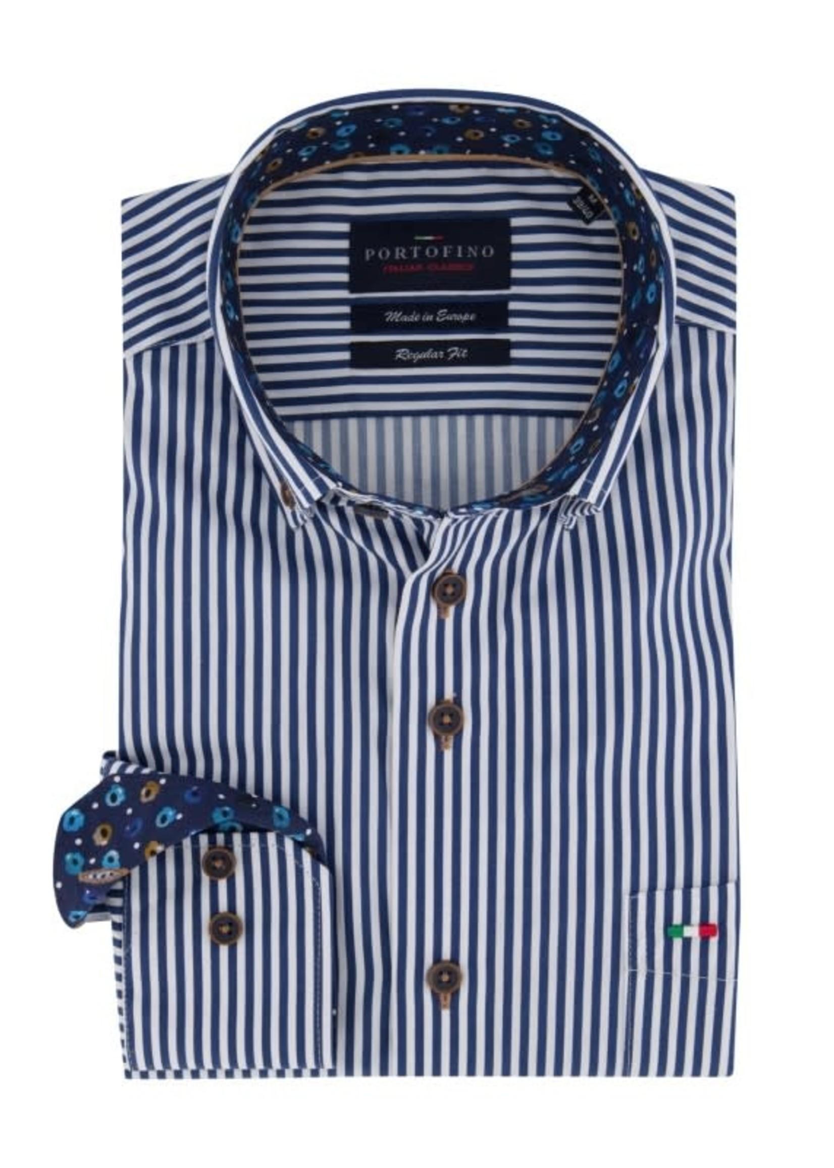 Portofino overhemd marine streep