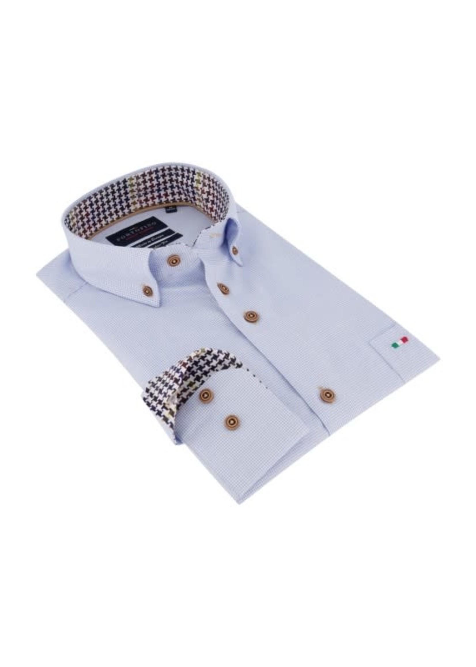 Portofino overhemd lichtblauw ruitje