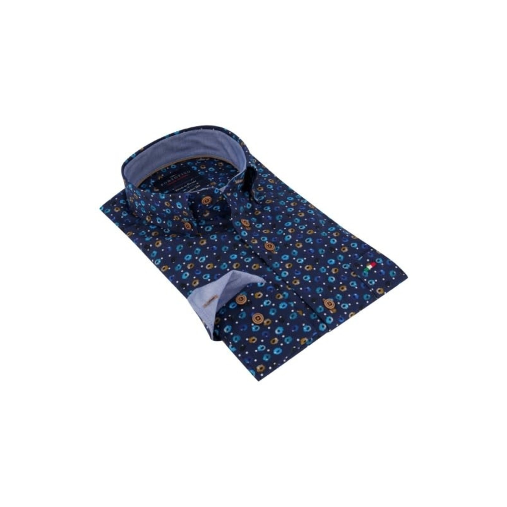 Portofino overhemd blauw print
