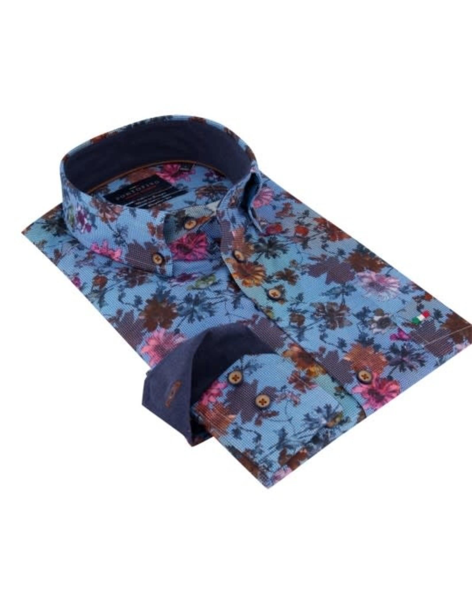 Portofino overhemd blauwe bloem