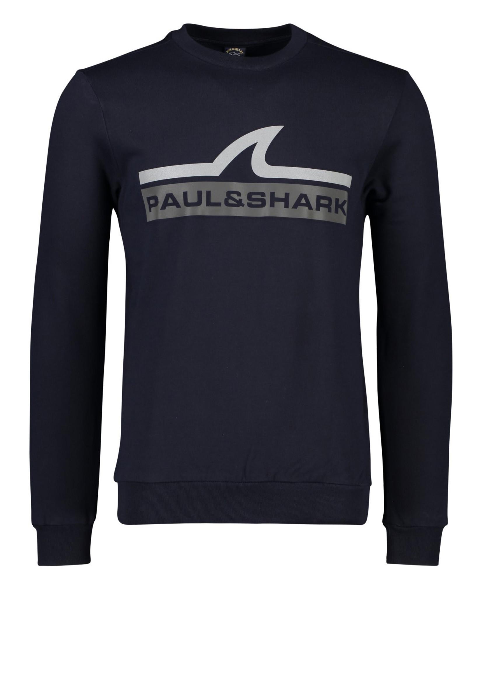 Paul & Shark sweater marine met zilveren haai