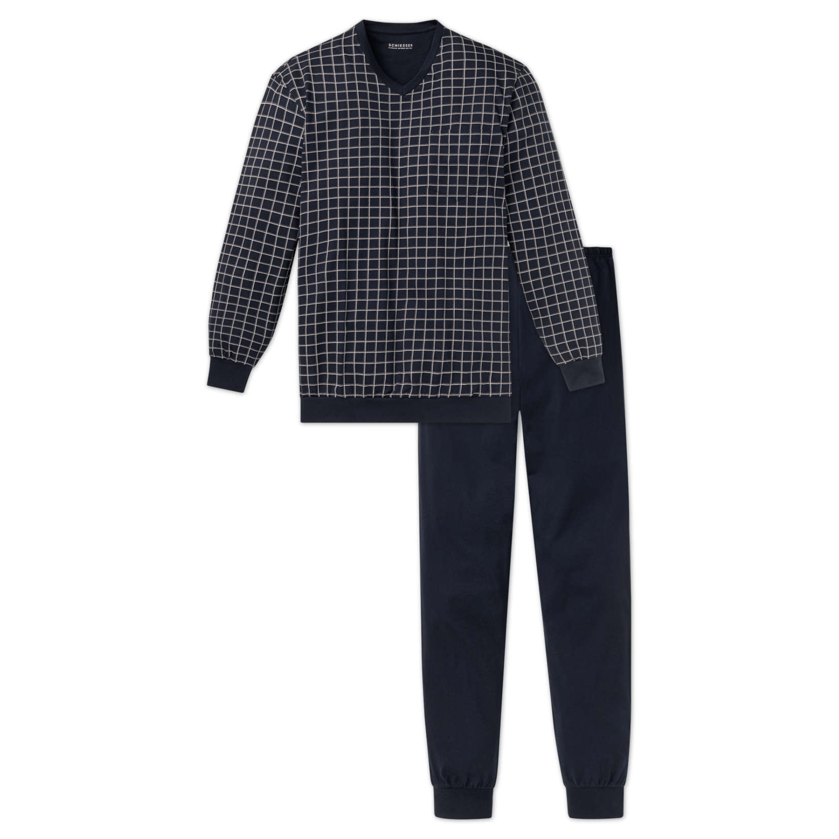 Schiesser pyjama marine ruit