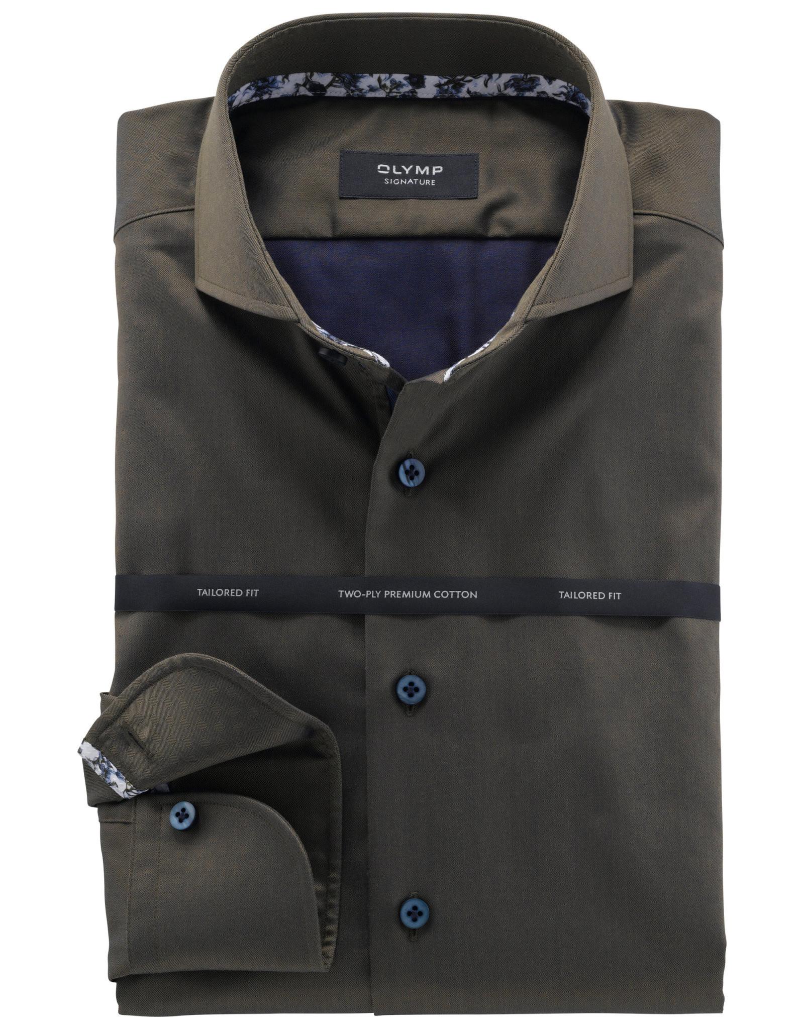 Olymp Signature tailored fit overhemd groen dessin