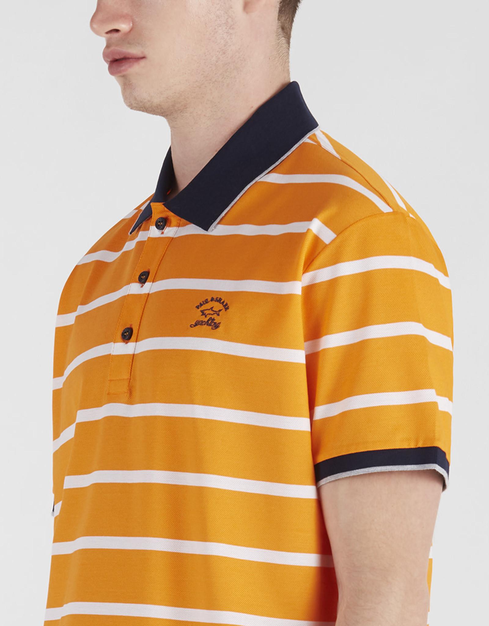 Paul & Shark polo korte mouw oranje met witte streep