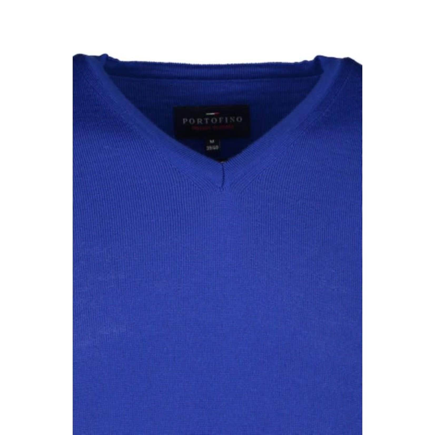 Portofino pullover merino v-hals kobalt