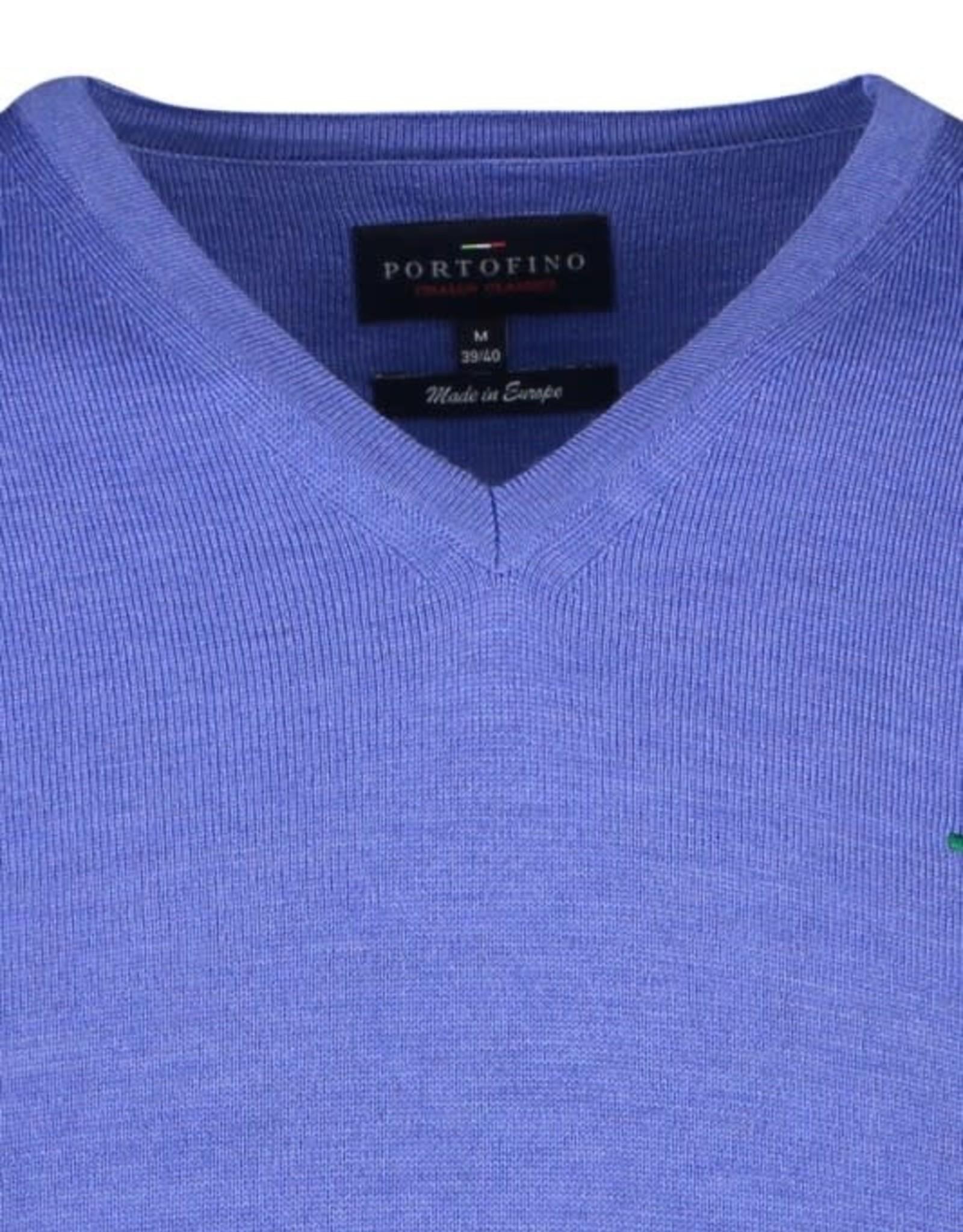 Portofino pullover merino v-hals blauw