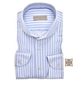 John Miller slim fit overhemd bleu streep