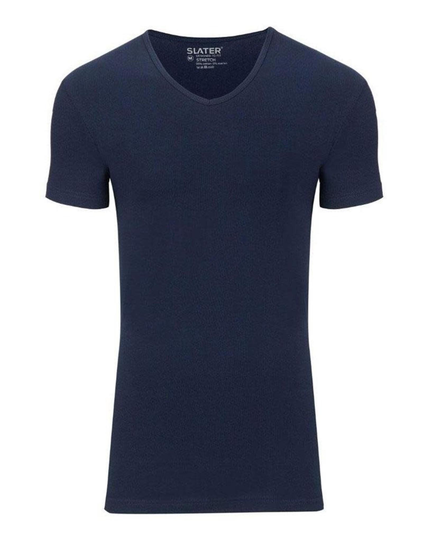 Slater Stretch 2-pack v-hals t-shirt marine