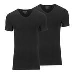 Slater Stretch 2-pack v-hals t-shirt zwart