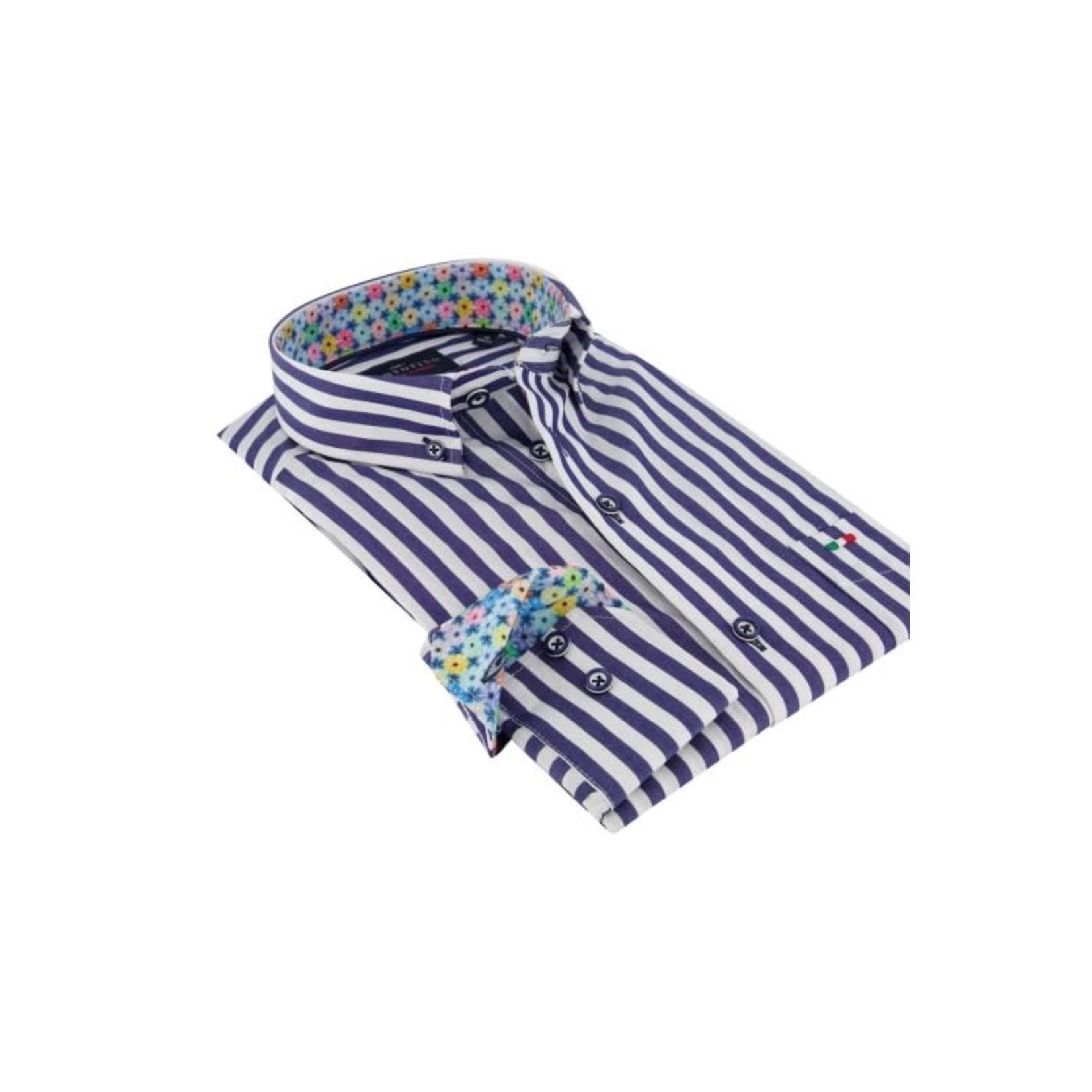 Portofino regular fit overhemd blauwe streep