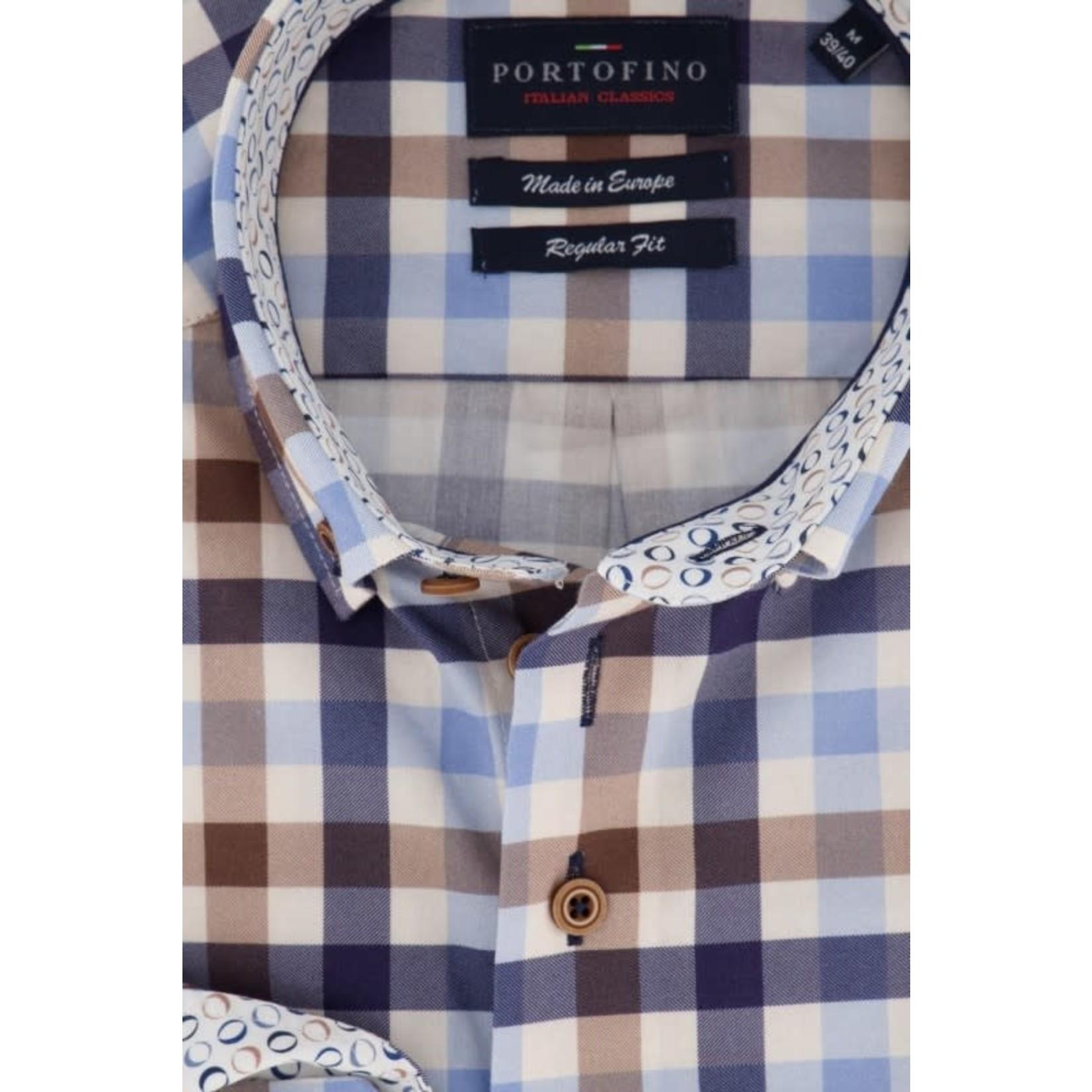 Portofino regular fit overhemd bruine ruit