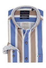 Portofino regular fit overhemd streep blauw taupe