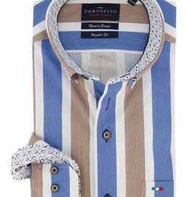 Portofino overhemd streep blauw taupe